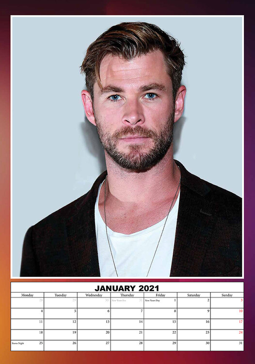 Calendar 2021 Chris Hemsworth