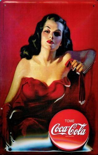 COCA COLA - LADY IN RED 3D Plaque métal décorée