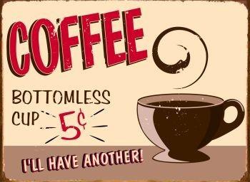 COFFEE Plaque métal décorée