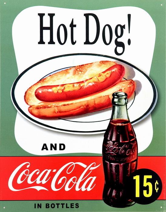 COKE HOT DOG Plaque métal décorée