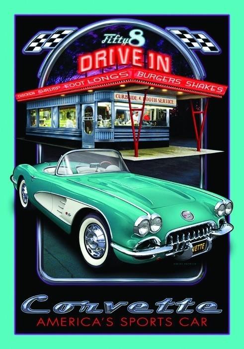CORVETTE DRIVE Plaque métal décorée