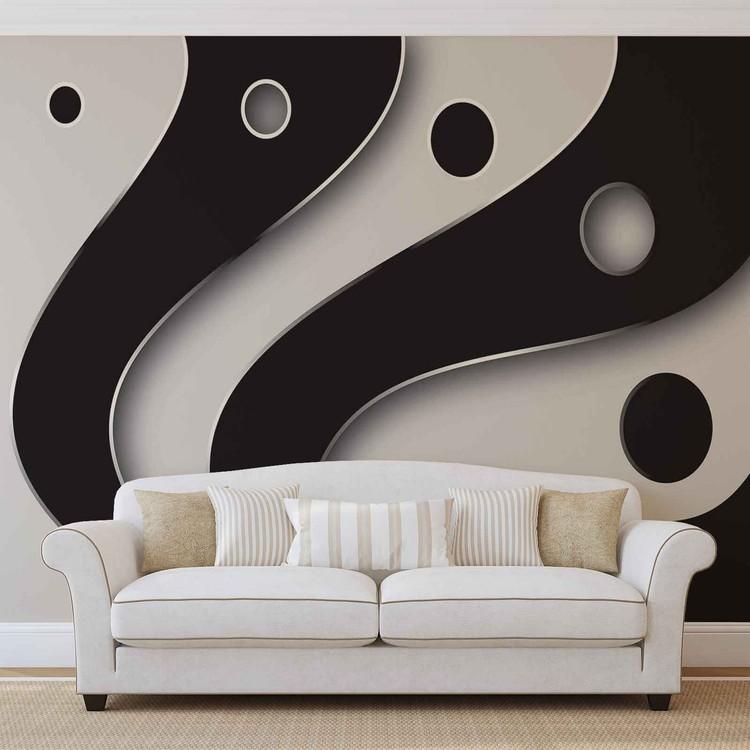Papel de parede  Abstract Modern Pattern Black White