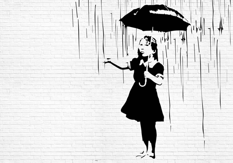 Papel de parede  Banksy Graffiti Brick Wall