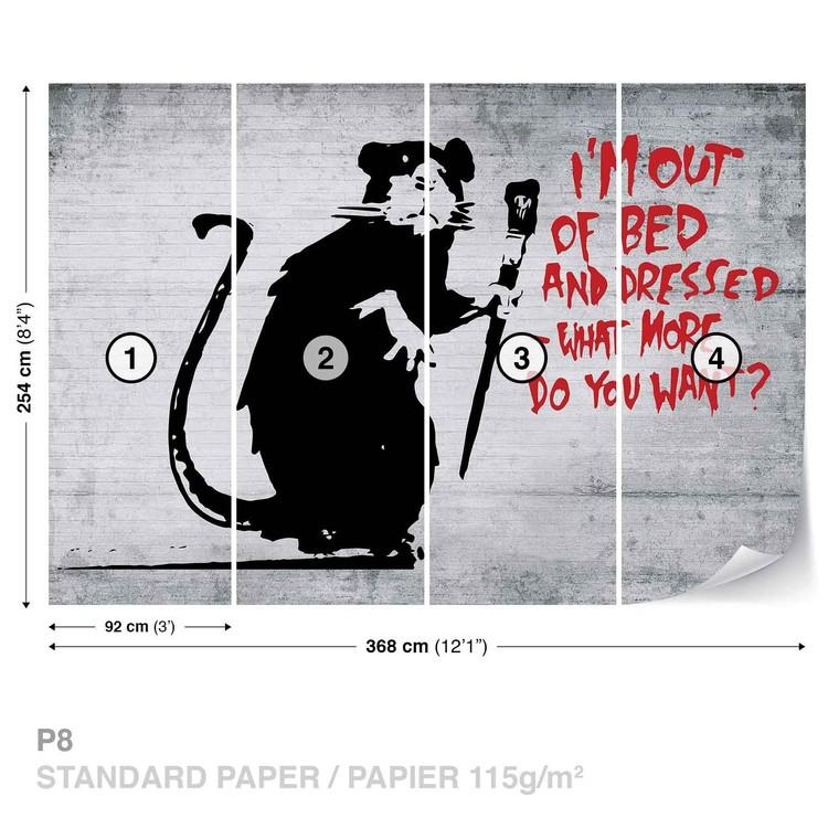 Papel de parede Banksy Graffiti Rat Concrete Wall