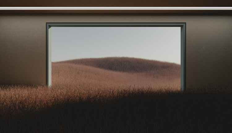 Murais de parede Dark room in the middle of brown cereal field series  1