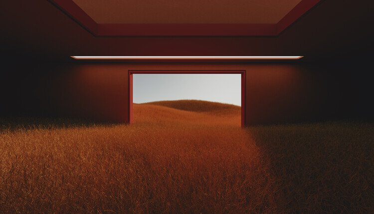 Murais de parede Dark room in the middle of red cereal field series  3