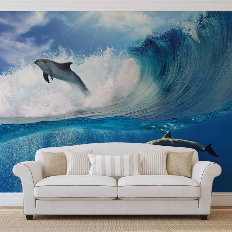 Papel de parede  Dolphins Sea Wave Nature