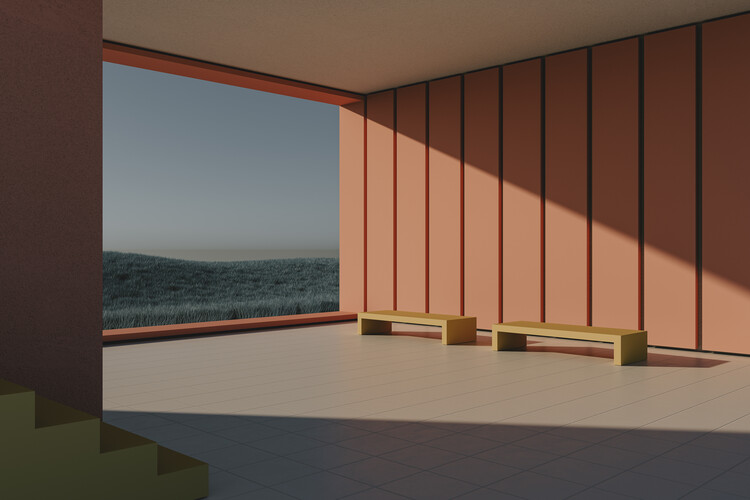 Murais de parede Empty architecture space with blue cereal fields series  2