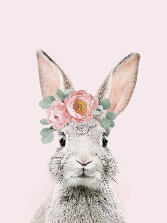 Murais de parede Flower crown bunny pink