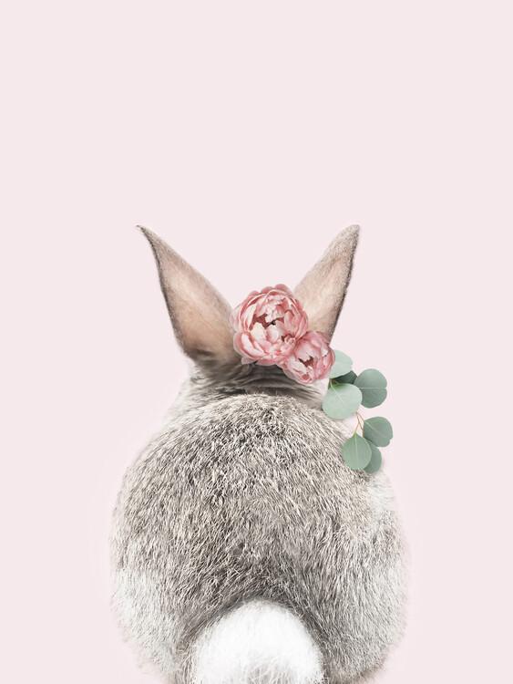 Murais de parede Flower crown bunny tail pink
