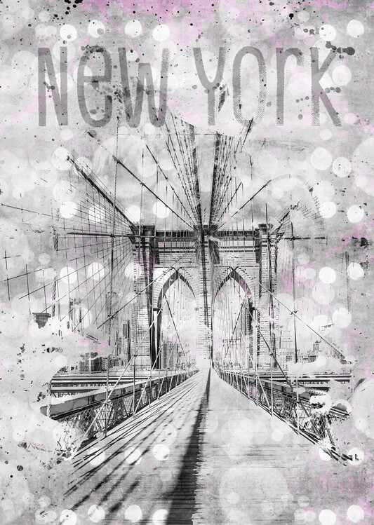 Papel de parede Graphic Art NEW YORK CITY Brooklyn Bridge