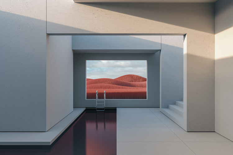 Murais de parede Minimal interior with a red field at day series 1