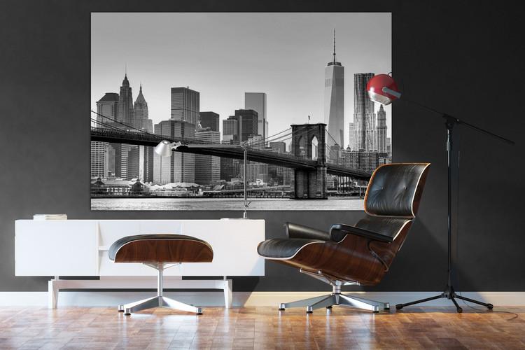 Papel de parede New York - Brooklyn Bridge (B&W)