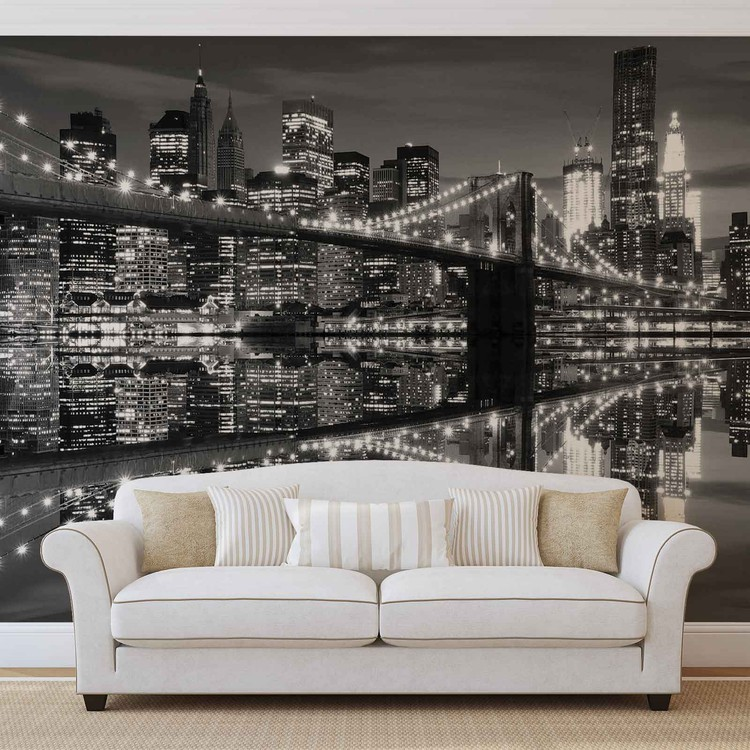 Papel de parede New York City Skyline Brooklyn Bridge