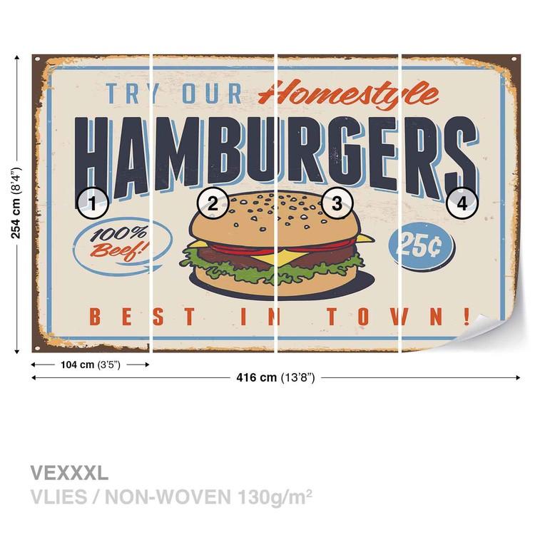 Papel de parede  Retro Poster Hamburgers
