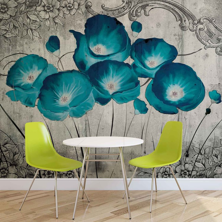 Papel de parede Vintage Flowers Blue Grey