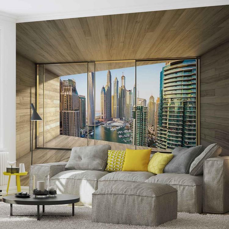 Papel de parede  Window Dubai City Skyline Marina