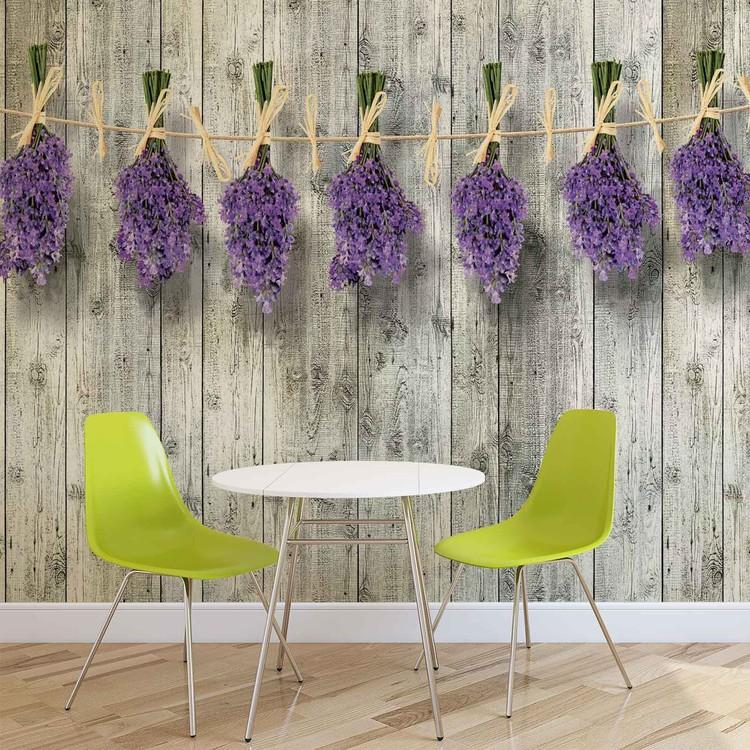 Papel de parede Wooden Wall Flowers Lavender