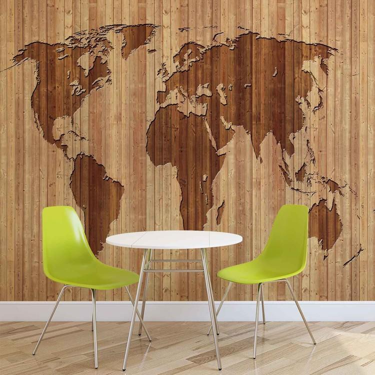 Papel de parede World Map Wood