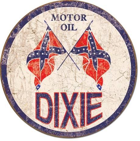 DIXIE GAS - Weathered Round Plaque métal décorée