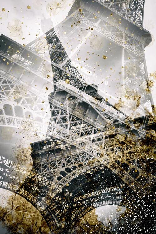 Eksklusiiviset taidevalokuvat Eiffel Tower   Vintage gold
