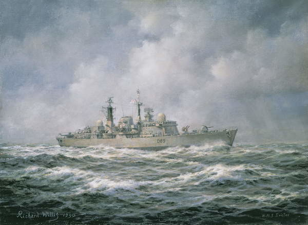 H.M.S. Exeter at Sea, 1990 Canvas-taulu
