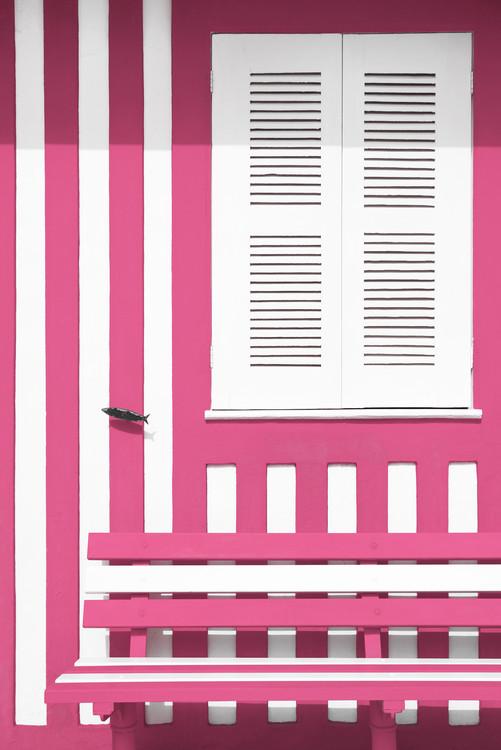 Eksklusiiviset taidevalokuvat House facade with Pink and White Stripes