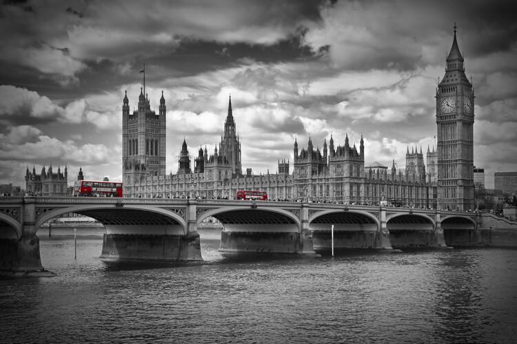 Eksklusiiviset taidevalokuvat LONDON Westminster Bridge & Red Buses