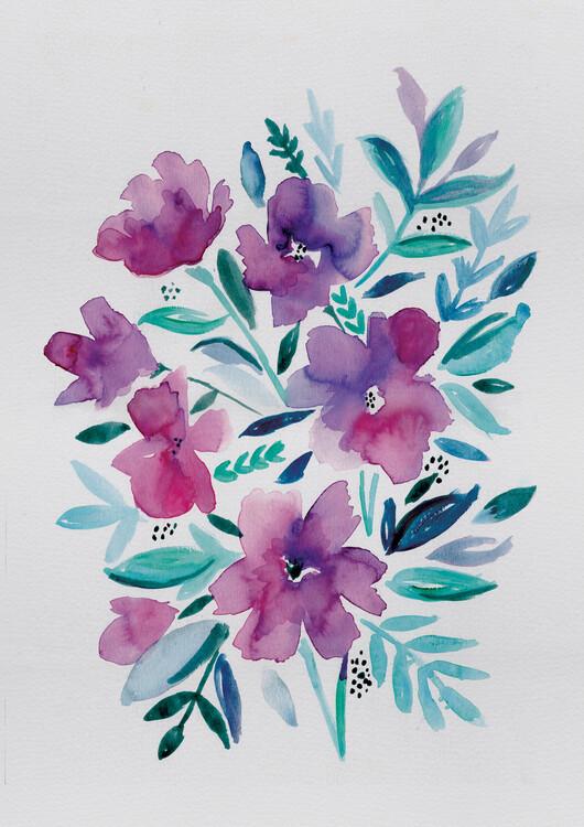 Eksklusiiviset taidevalokuvat Loose pink floral watercolour