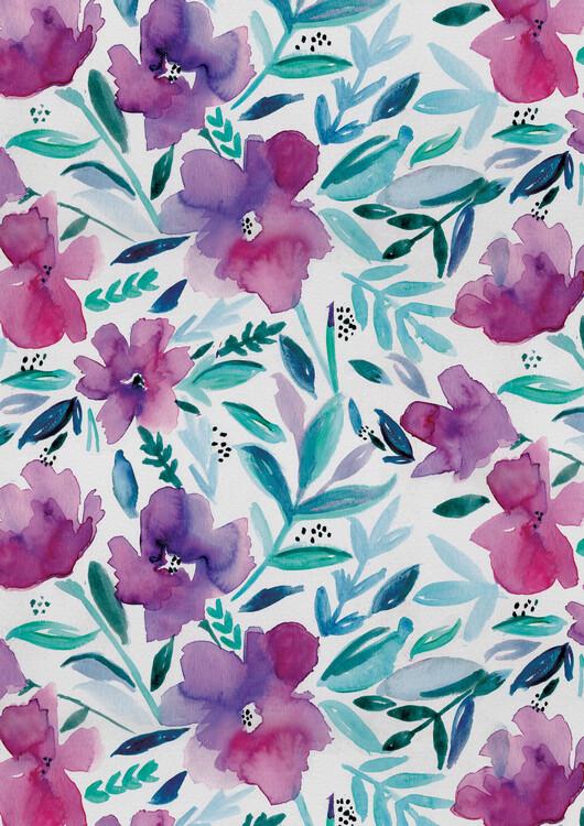 Eksklusiiviset taidevalokuvat Loose pink floral watercolour repeat