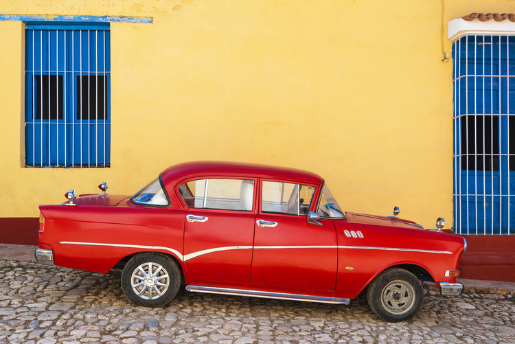 Eksklusiiviset taidevalokuvat Red Classic Car in Trinidad