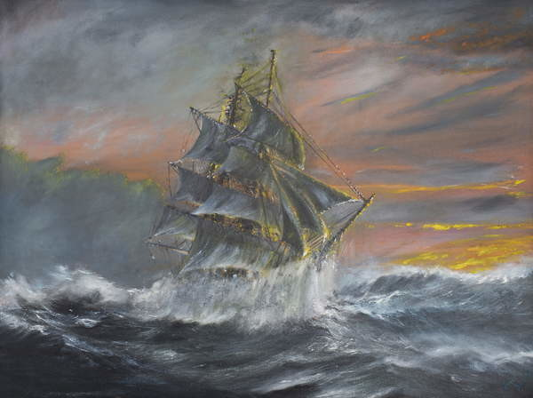 Terra Nova in fierce Gale at dawn Dec 2nd 1910, 2007, Canvas-taulu
