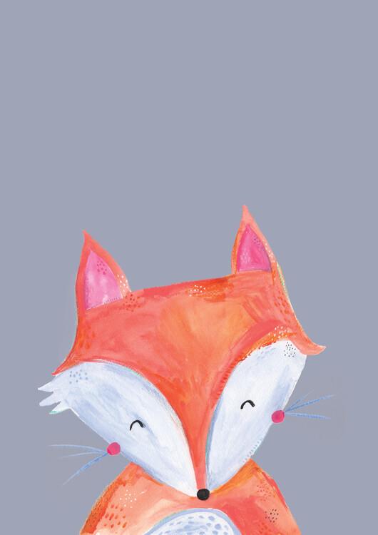 Eksklusiiviset taidevalokuvat Woodland fox on grey
