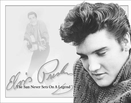 ELVIS PRESLEY- The Sun Never Sets On A Legend Plaque métal décorée