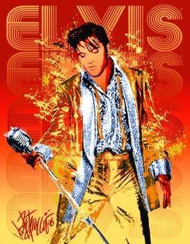 EVIS PRESLEY - gold lame suit Plaque métal décorée