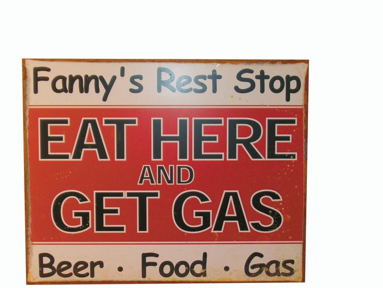 FANNY'S REST STOP Plaque métal décorée