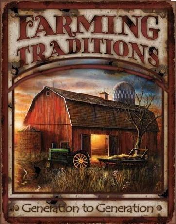 FARMING TRADITIONS Plaque métal décorée