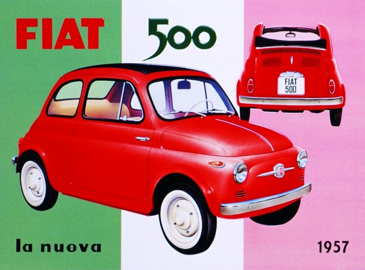 fiat 500 plaque m tal d cor e acheter le sur. Black Bedroom Furniture Sets. Home Design Ideas