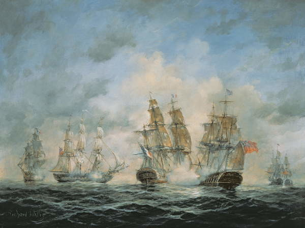 Fine Art Print 19th Century Naval Engagement in Home Waters