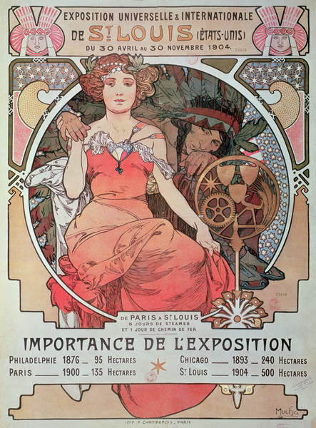 Fine Art Print A Poster for the World Fair, St. Louis, United States, 1904