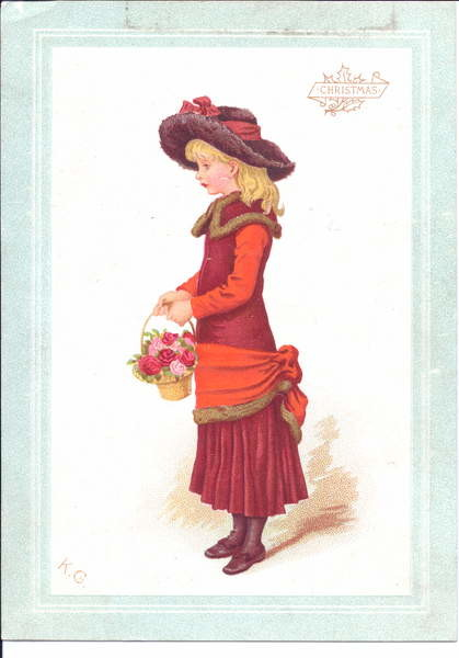 Fine Art Print A Victorian greeting card of a child dressed in regency clothes, c.1880