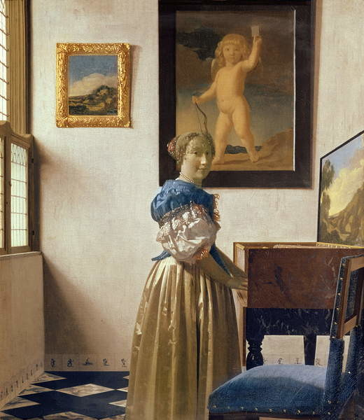 Fine Art Print A Young Woman Standing at a Virginal, c.1670-72