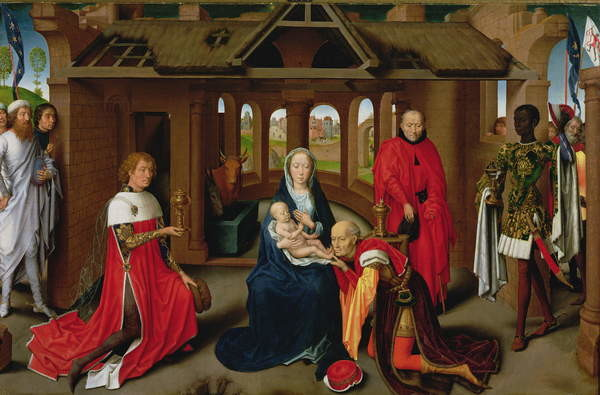 Fine Art Print Adoration of the Magi, central panel of the Triptych of the Adoration of the Magi, c.1470-72