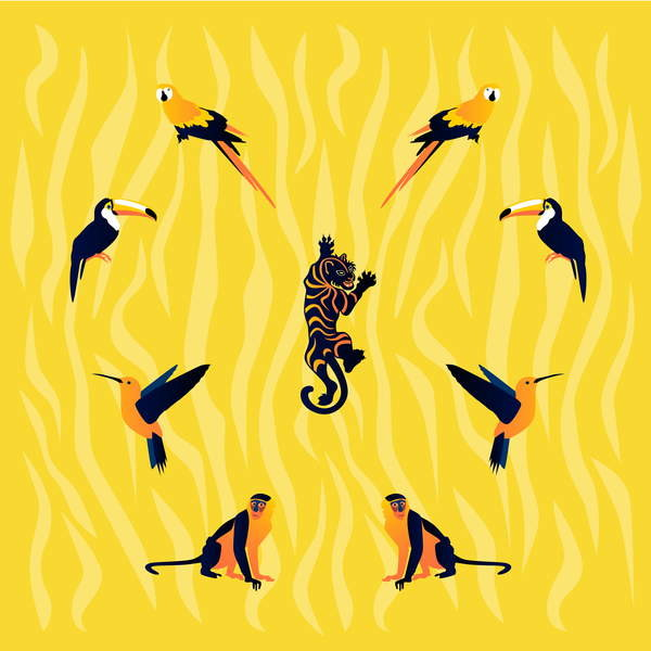 Fine Art Print animals-yellow-black