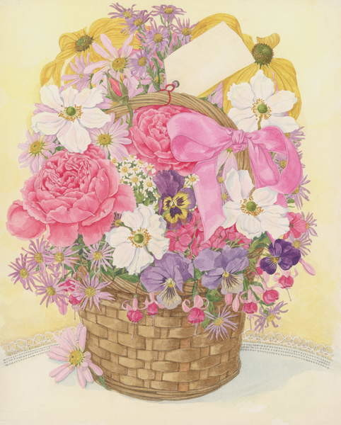 Basket of Flowers, 1995 Canvas Print