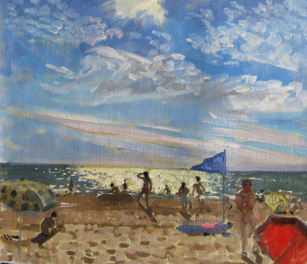 Fine Art Print Blue flag and red sun shade, Montalivet