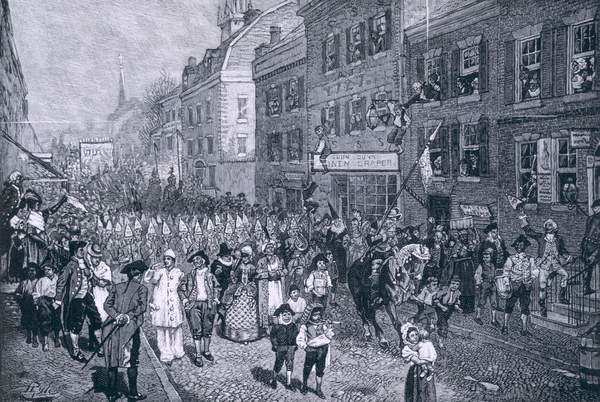 Fine Art Print  Carnival at Philadelphia, illustration from 'The Battle of Monmouth Court House' by Benson J. Lossing, pub. in Harper's Magazine, June 1878
