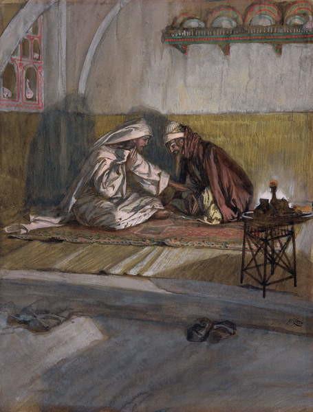 Fine Art Print Christ Talks with Nicodemus, illustration for 'The Life of Christ', c.1886-94