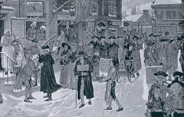 Christmas Morning in Old New York Before the Revolution, illustration from Harper's Weekly, pub. 25th December 1880 Canvas Print