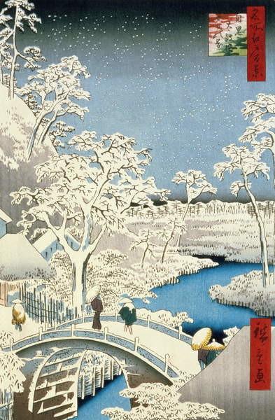 Fine Art Print Drum bridge and Setting Sun Hill at Meguro, from the series '100 Views of Edo', pub. by Uoya Eikichi, 1857,